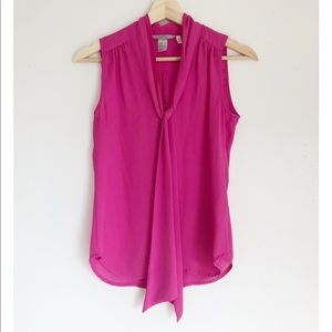 H&M Pink Sleeveless Loose Fit Neck Tie Blouse